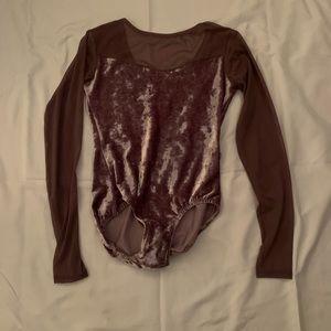 Purple velvet and mesh long sleeve ballet leotard